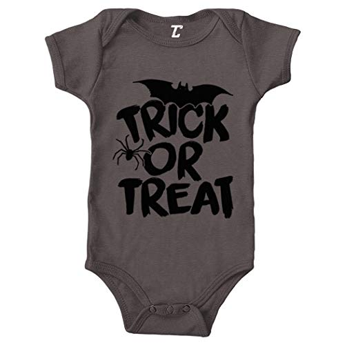 Trick Or Treat - Halloween Spooky Scary Bodysuit (Charcoal, Newborn) ()