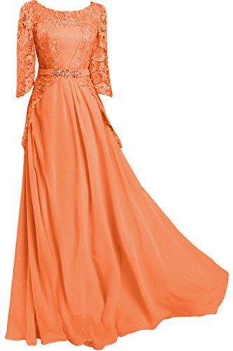 lungo ball circa Mezza punta donna Manica vestito Chiffon colletto Bete amp; da Orange sera dell'abito Ivydressing wgwp7qt16