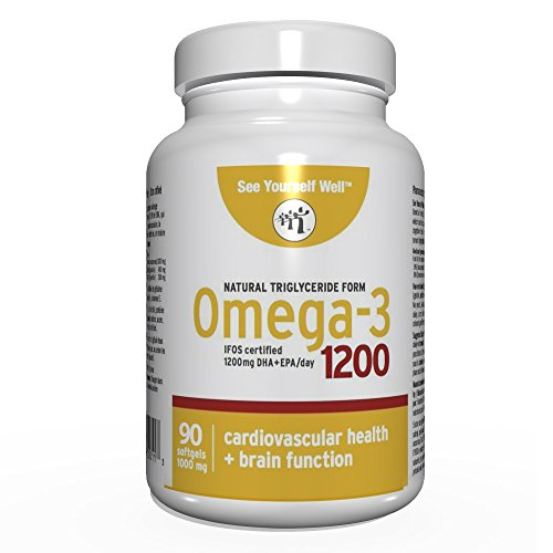 Omega 3 - Natural State: Ultimate Strength Omega 3 Fish Oil Softgels, 1200 (90 Count). High EPA & DHA Essential Fatty Acids, Supports Heart, Brain, Joints and Immune System. No Fishy Aftertaste