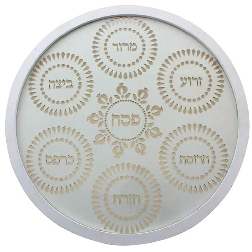 Modern Wood Laser Cut Passover Seder Plate with Glass Dishes