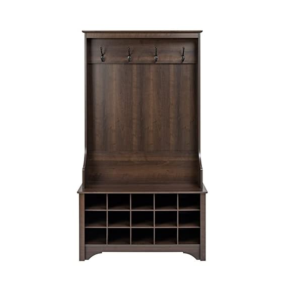 """Atlin Designs Hall Tree with Shoe Storage in Espresso - Finish: Espresso Finished in rich espresso laminate Assembled Dimensions: 38"""" W x 68"""" H x 15.5"""" D - hall-trees, entryway-furniture-decor, entryway-laundry-room - 41 %2BWdOhSfL. SS570  -"""