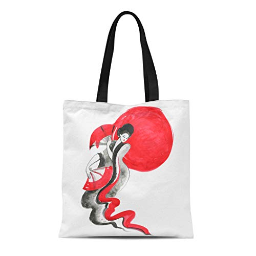Semtomn Cotton Canvas Tote Bag Accessory Geisha Women in Traditional Chinese Watercolor Hand Painting Reusable Shoulder Grocery Shopping Bags Handbag Printed]()