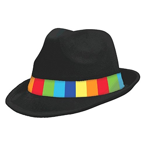 Wear Fedora Hat - Amscan Black Velour Fedora Hat with Rainbow-Striped Hatband Costume Party Headwear, Fabric, 5
