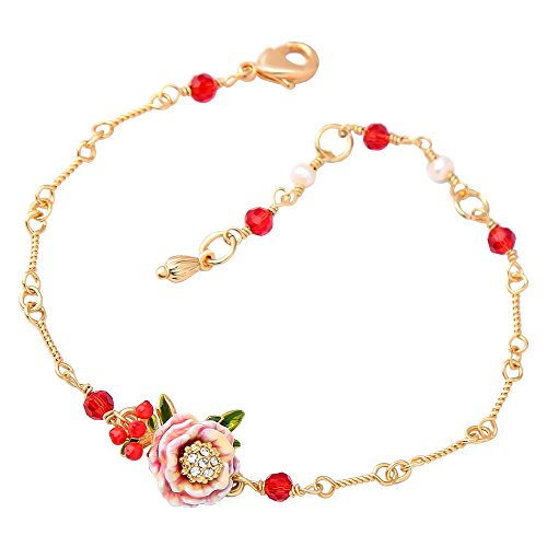 Ladies Exquisite Cloisonné Handmade Enamel Fairy Rose Twisted Hand Chain Bracelet for Women, Vintage Real Gold, Gorgeous Red - Vintage 14k Charm
