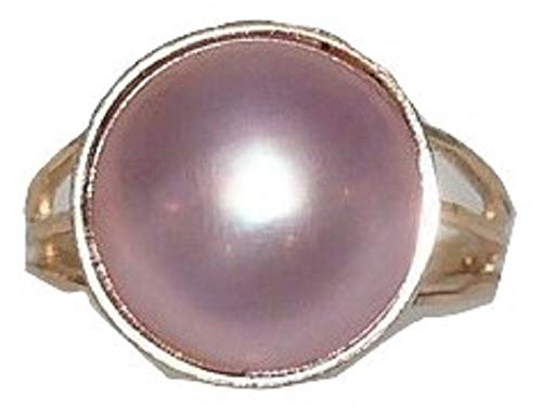 (Mabe Pink 13.0 mm Pearl Ring 14k Yellow Gold)