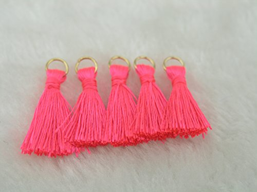 100pcs Neon Pink Silky Handmade Tiny(1.4'') Soft Tassels, Mini Tassels, Spring Colors, Colorful Tassels, Earring Tassel with Golden Jump (Handmade Tassels)