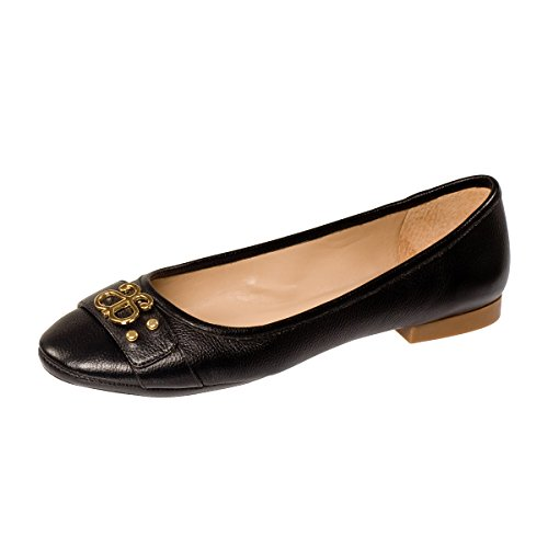 ANDREW STEVENS Women's Camilla Black Leather Ballet Flat (7.5, Black)
