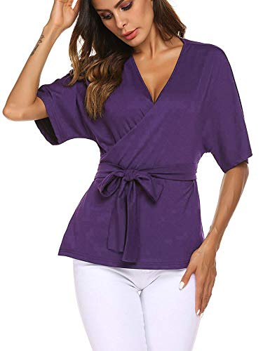 EASTHER Women's Casual Wrap V Neck Blouses Short Sleeve Shirts Top Purple Small