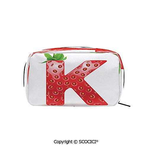Travel Cosmetic Bag Portable Makeup Pouch Fresh Food Strawberry Style Capital K Seasonal Refreshment Design Decorative makeup clutch for Girls Ladies Women ()