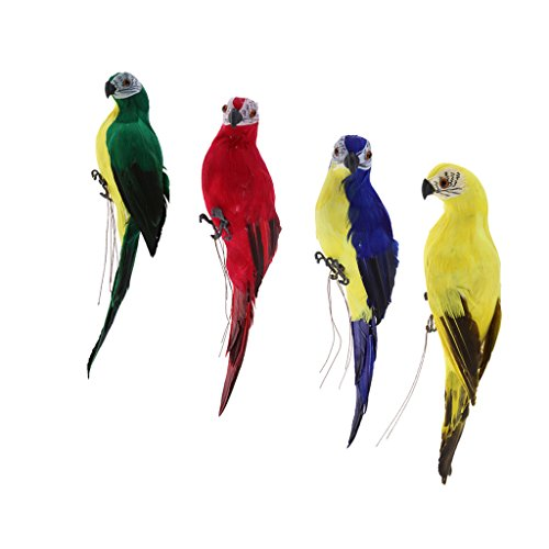 Feathered Bird Ornament - 4X Realistic Macaw Parrot Blue & Red & Green & Yellow Lifelike Bird Ornament Artificial Feathered Animal Model Statues Lawn Sculpture Tree Decor