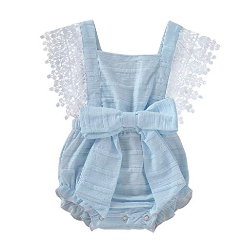 NUWFOR Newborn Infant Baby Girl Boy Solid Lace Bow Romper Bodysuit Clothes Outfits(Blue,0-3 Months)