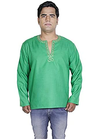 Mens Cotton Kurta Long Sleeve Button Embroidered Solid Casual T-shirt