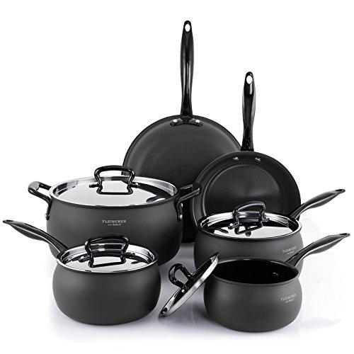 Fleischer & Wolf Aluminum Black Nonstick Cookware Set (10-Piece)