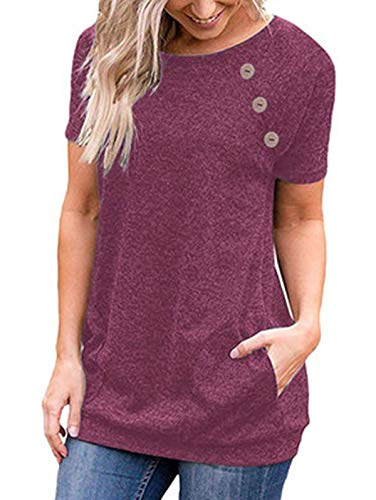 (TEMOFON Women's Short Sleeve Tops Summer Casual Solid Side Buttons Tunic Blouse T-Shirts with Pockets Purple Red)