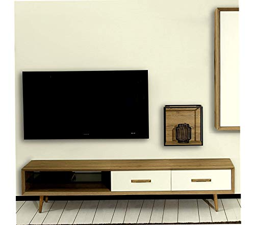Wood & Style Alto TV Stand Sherwood Oak/Moonstone Decor Comfy Living Furniture Deluxe Premium Collection