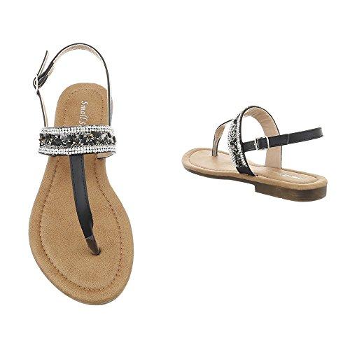 Ital-Design Zapatos Para Mujer Sandalias de Vestir Tacón Ancho Sandalias de Dedo Negro BM197-1