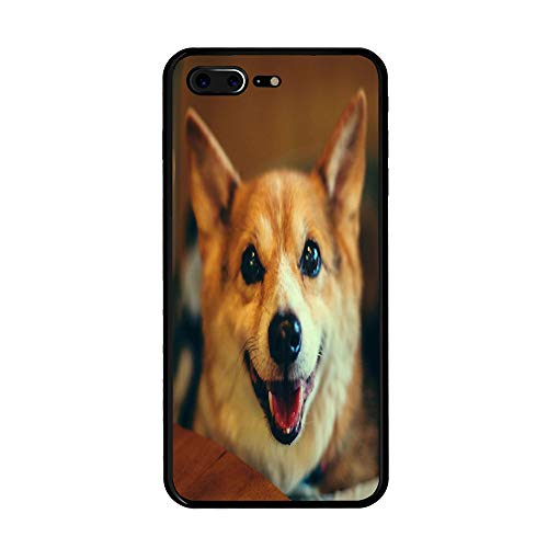 Cute Pet Dogs Corgi Wallpaper Customized for iPhone 7 Plus/iPhone 8 Plus Case - Black Hard Plastic (5.5 -