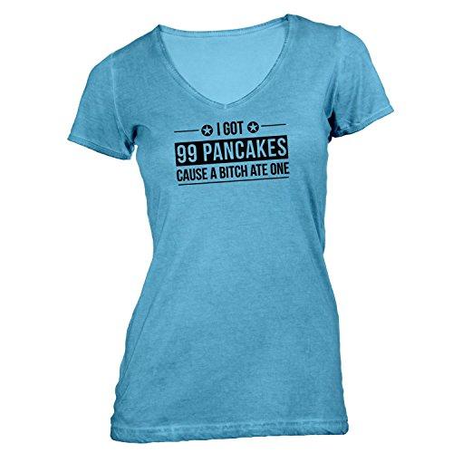 Damen T-Shirt V-Ausschnitt - I Got 99 Pancakes Cause A Bitch Ate One - Fun Style Design Hellblau CYERX1K