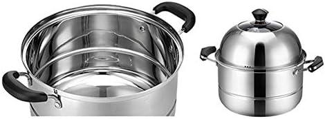 Casserole à Vapeur Vapeur En Acier Inoxydable Multicouche Steamer,Cuiseur d'induction/cuisinière à gaz composites inférieurs à double couche de ménage universels-28cm