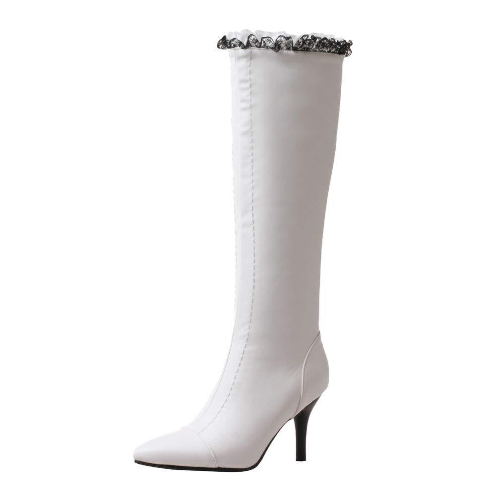 Bottes Tube Hautes Femme,Overmal 2018 Hiver Mode Retro Carré Talon Haut Solide Cuir Boots Pointues Orteil Mi-Mollet Chaud Chaussures Sauvage Bottes Souples Bottes de Neige