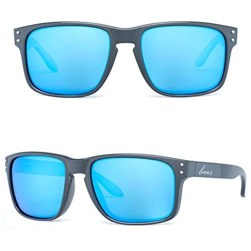 (Bnus italy made classic sunglasses corning real glass lens w. polarized option (Crystal Grey/Blue Flash Polarized/Blue Flash lens, Polarized Size:56mm(M)))