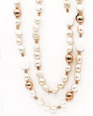 LE LUNE Collar Colgante para Mujer en Plata Dorada con Perlas Blancas y Doradas LGNK102