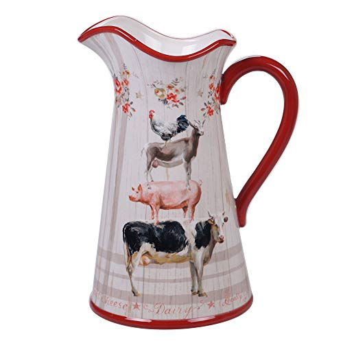 Certified International 26738 Farmhouse Pitcher 3.0 qt. Servware, Serving Acessories, Multicolred (Cookie Cow Jars)