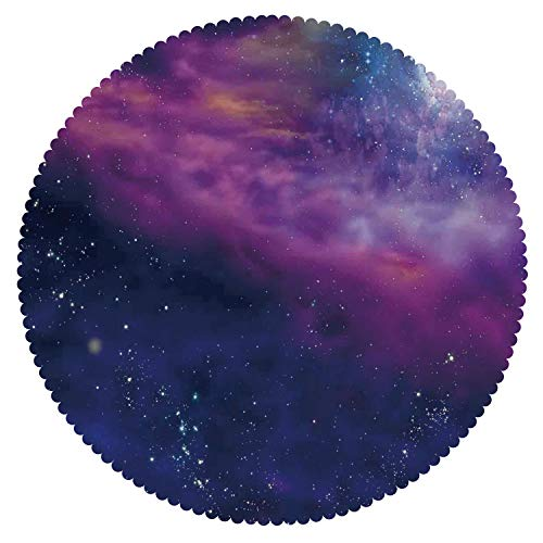 iPrint Funky Round Tablecloth [ Outer Space Decor,Spiritual Dim Star Clusters Milky Circle Back with Solar System Elements,Purple Blue ] Decorative Tablecloth Ideas by iPrint