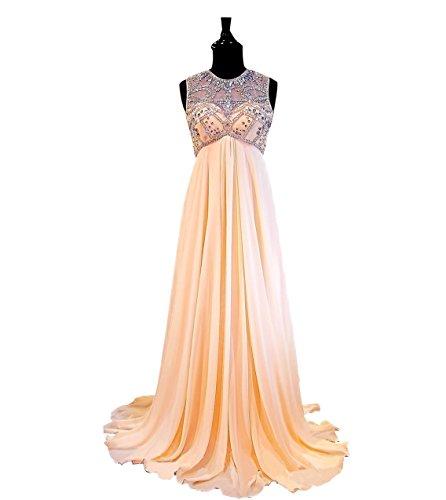 NINI.LADY Women's Jewel Empire Waist Beading Illusion Back Hole Evening Gown Blush US10
