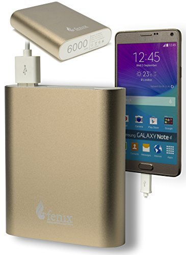 Fenix 6000 mAh Portable Charger External Battery Power Bank for iPhone 6 Plus 5S 5C 5 4S, iPad Air 2 Mini 3, Samsung Galaxy S6 S5 S4 Note Tab, Nexus, HTC, Motorola, Nokia, PS Vita, Gopro, more Phones and Tablets and More (Gold)