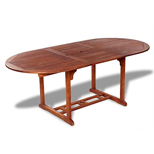Festnight Extendable Dining Table for Both Indoor Outdoor Use, Acacia Wood (Dining Round Table Extendable)