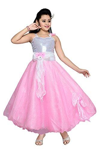 Aarika Girl's Pink Floral Design Tissue Gown (G-2805-PINK_40_15-16 Years) by Aarika