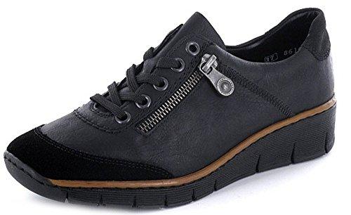 schwarz Rieker Donna schw nero schwarz schwarz schw schwarz stringate 5372100 Scarpe pARPw4q67