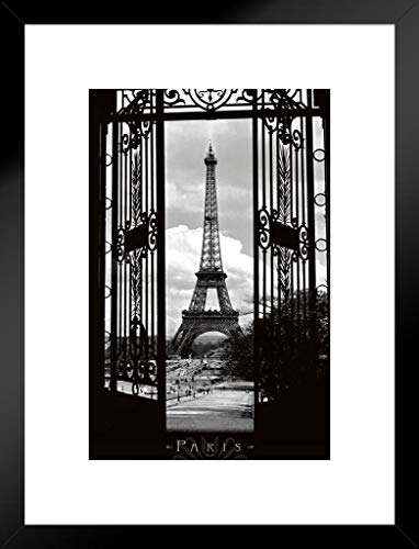 Black Photos White Architectural (Pyramid America Eiffel Tower Through The Gates Paris France Romantic Landmark 1909 Photograph Photo Matted Framed Poster 20x26 inch)