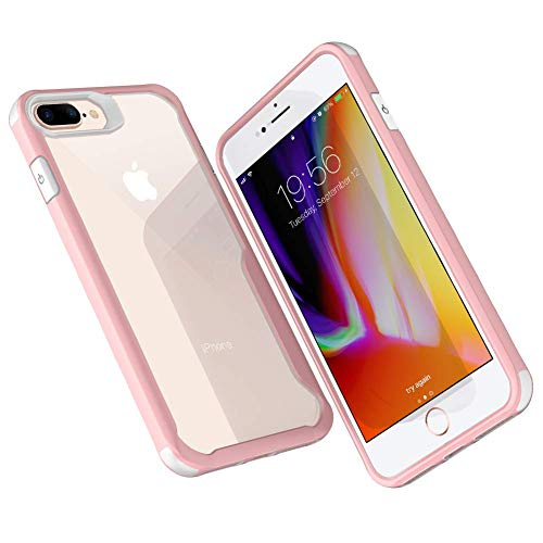 Miracase Clear iPhone 8 Plus Case, Apple iPhone 7 Plus Cover Hybrid 5.5'', Unicorn TPU Clear PC Air Cushion Bumper Shockproof Drop Protective Shells for iPhone 6/7/8 Plus(White/Pink