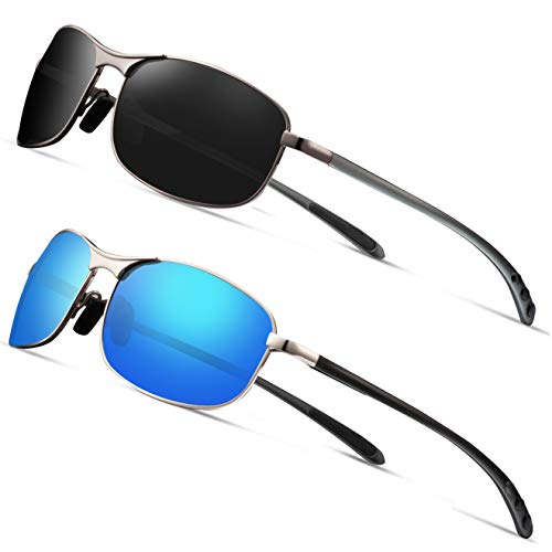 Rectangular Sport Polarized Sunglasses for Men - Feirdio Mens Sunglasses Sports Metal Frame 100% UV protection 2268 (2pack(balck gun+blue), ()