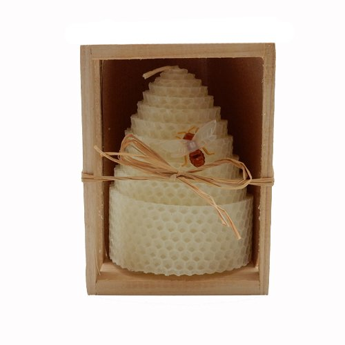 Green Pastures Wholesale Beeswax White Honeycomb Shaped Pillar Candle 3 by 4-Inch