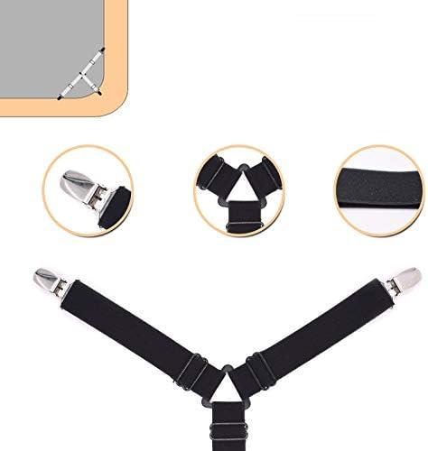 14cm*24cm Noir Kentop Lot de 4 draps-Housses /élastiques pour draps de Lit et draps /élastiques r/églables
