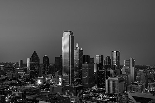 - Vintography 8 x 12 Black White Photo Dusk View The Dallas Skyline, Taken from The city's Reunion Tower 2014 Highsmith 93a