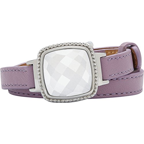 Activity Fitness Tracker + Mobile Alerts + Storage Smart Jewelry Bracelet for Women, Lavender Leather by Ela Fine Tech