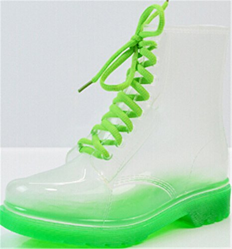 Desirca Rainboot Women Woman Autumn Rainboots Transparent Waterproof Spring Ankle Shoes Boots Green RSf1wRpxq