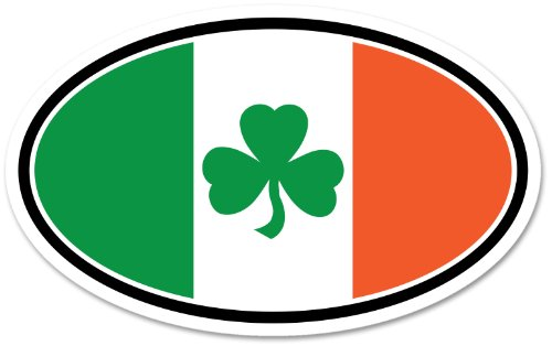 Irish Tricolor Shamrock Oval Decal Vinyl Window ()