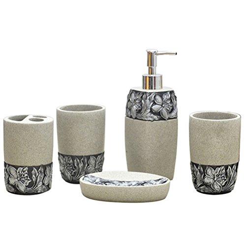 High Grade Resin 5 Pieces Bathroom Accessory Set With Vivid Stone With Black Daisy Ensemble,Resin Sanitary Ware,Home Decor,Bath Ideas,Home Gift