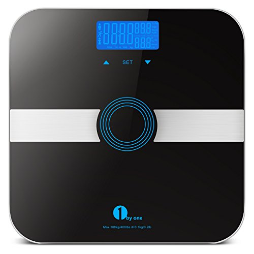 1byone Körperfettwaage Mit Hartglas 180kg/400lb Waagekapazität, Automatische Erkennung von bis zu 10 Nutzern, Körpergewicht, Körperfett ,Wasser, Muskel, Kalorien und BMI, Schwarz