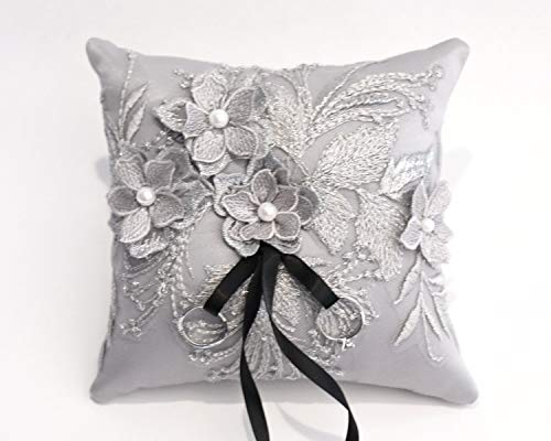 Detail Sash - Wedding Ring Pillow, Wedding Cushion with Gray Lace Detail, Ring Bearer Pillow, Gray Satin Sash,Wedding decor,Wedding Something Blue -RT36
