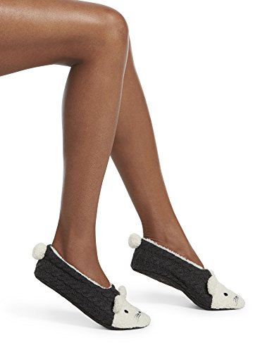 HUE Women's Fluffy Slipper Shue Sock with Grippers, Graphite Heather - Mouse, L