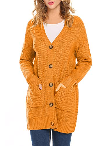 - Hotouch Women Cardigan Sweaters Knit Open Front Chunky Boyfriend Cardigans Coats Pockets Golden Yellow M