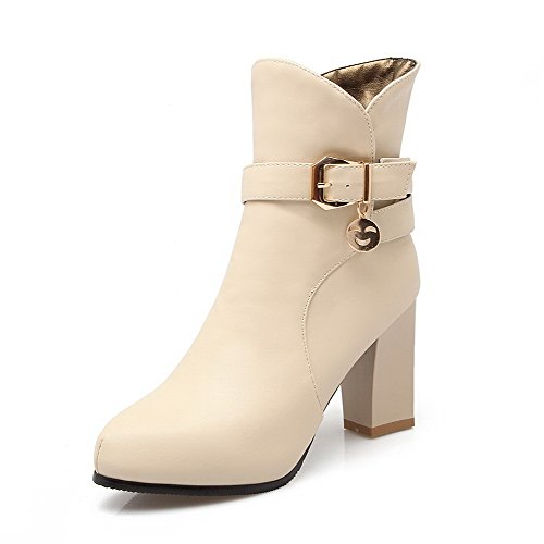 Allhqfashion Mujer Solid Pu High-heels Con Cremallera En Punta Cerrada Botas De Punta Beige