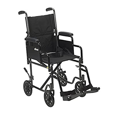 Drive Medical Lightweight Steel Transport Wheelchair, Detachable Desk Arms, 17″ Seat, Silver Vein