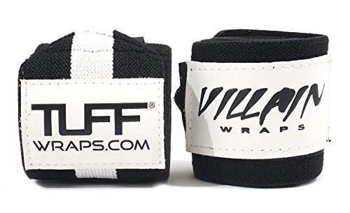 Villain Wrist Wraps 16'' for Powerlifting, Weightlifting, Strongman Training, Crossfit - (Black/White, 16 Inches) by Tuff Wraps